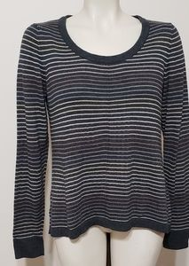 Gray striped long sleeve sweater